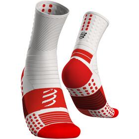 Compressport Pro Marathon Calcetines, blanco/rojo
